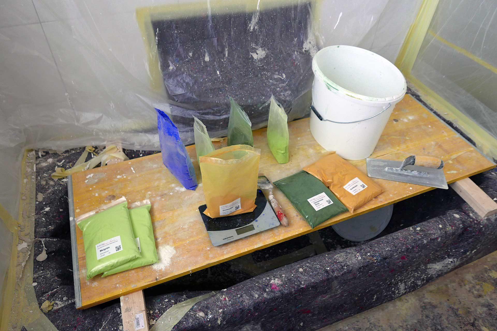 Abwiegen von Pigmentmischung